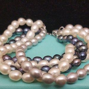 925 Sterling Silver Cultured Pearl Bracelet